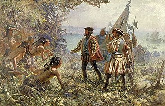 Quebec City - Depiction of Jacques Cartier's meeting with the indigenous people of Stadacona in 1535.