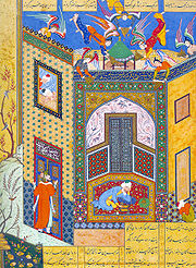 Illustration from Jami's Rose Garden of the Pious, dated 1553. The image blends Persian poetry and Persian miniature into one, as is the norm for many works of Persian literature.