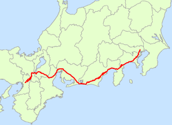 Japan National Route 1 Map.png