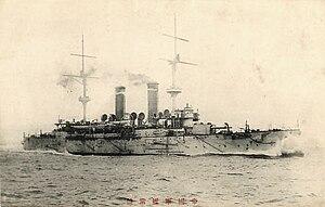 Japanese cruiser Tokiwa - Japanese postcard of Tokiwa at speed, circa 1905