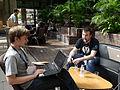 Jarry1250 and Deskana on day 2 of the Wikimania 2014 hackathon 02.jpg