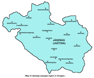 Jasz people - Map of Jászság (Jazygia)