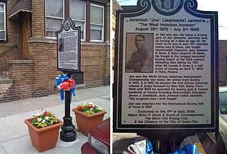 Summit Avenue (Hudson Palisades) - Historical marker in Union City where Joe Jeanette's home and gym once stood.