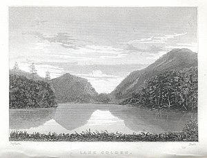 Mount Colden - Mt. Colden, Caribou Mt., and Lake Colden as seen from the southwest.  From Joel Tyler Headley's The Adirondack; or Life in the Woods (1849)