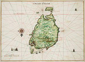 History of São Tomé and Príncipe - Map of São Tomé by Johannes Vingboons (1665).