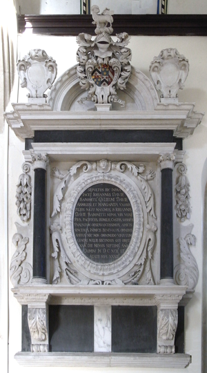 Creedy, Sandford -  Mural monument to John Davie, 3rd Baronet (1660–1692) of Creedy. North wall of chancel, Sandford Church