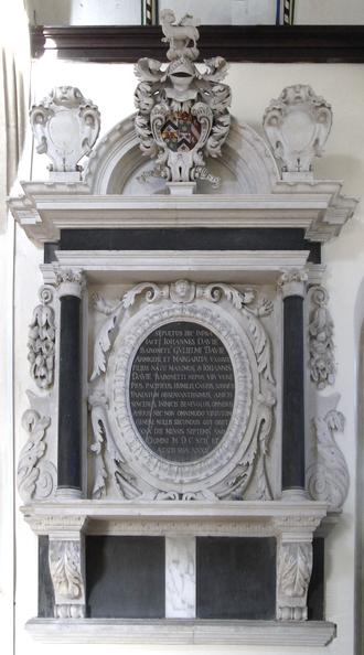 Creedy, Sandford -  Mural monument to John Davie, 3rd Baronet (1660–1692) of Creedy. North wall of chancel, Sandford Church