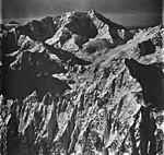 Johns Hopkins Glacier and Mt Crillon, tidewater glacier, mountain glaciers and snow covered aretes, September 12, 1973 (GLACIERS 5508).jpg