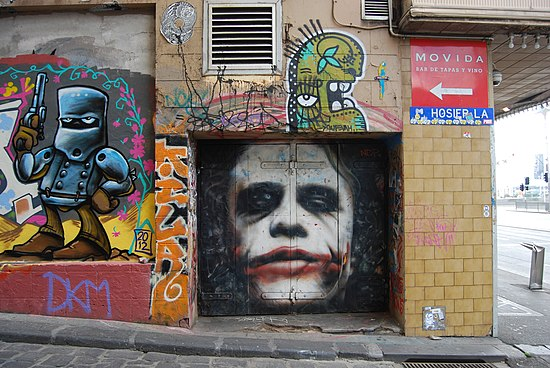 Ledger's character Joker as a part of the street art in Melbourne