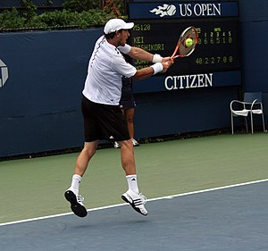 Juan Mónaco - Juan Monaco in 2008 against Kei Nishikori in the US Open