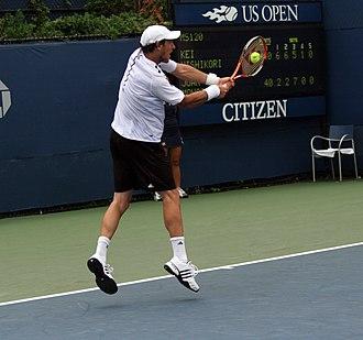 Juan Mónaco - Juan Monaco in 2008 against Kei Nishikori in the US Open