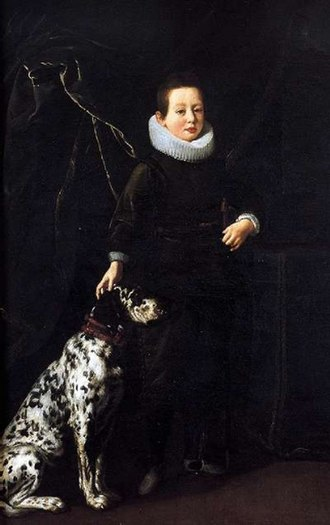 Dalmatian dog - Francesco di Cosimo II de' Medici (1614–1634) with a Dalmatian, by Justus Sustermans