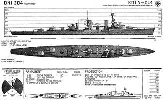 German cruiser Köln - Line-drawing of Köln