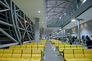Kansai International Airport - 3rd floor boarding lobby, part of the longest airport concourse in the world