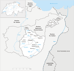 Map of the Canton of Appenzell Innerrhoden