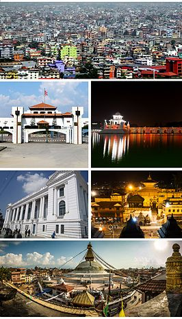 Clockwise from top: Kathmandu Skyline, Nepalese Parliament Building, Ranipokhari, Kathmandu Durbar Square, Pashupatinath Temple and Boudhanath