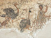 A man kills Red-Necked ostriches in a 2nd-century Roman mosaic at Zliten on the Libyan coast.