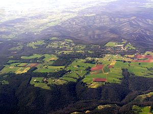 Kinglake, Victoria - Aerial view from the north, a year after the 2009 bushfire