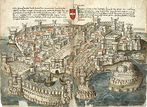 Frankokratia - Image: Konrad von Grünenberg Beschreibung der Reise von Konstanz nach Jerusalem Blatt 20v 21r