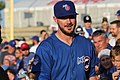 Kris Bryant signing autographs during his rehab assignment against Omaha (44267162942).jpg