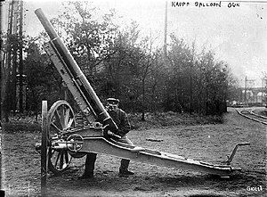 Anti-aircraft warfare - 1909 vintage Krupp 9-pounder anti-aircraft gun
