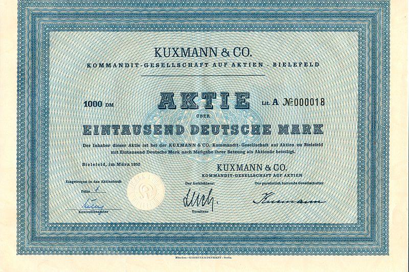 File:Kuxmann und Co Kommandit-Gesellschaft auf Aktien - Aktie 1000DM.jpg