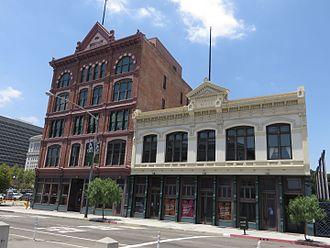 LA Plaza de Cultura y Artes - Plaza House and Vickrey-Brunswig Building.