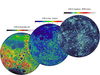 Lunar Reconnaissance Orbiter - LOLA data provides three complementary views of the near side of the Moon: the topography (left) along with maps of the surface slope values (middle) and the roughness of the topography (right). All three views are centered on the relatively young impact crater Tycho, with the Orientale basin on the left side.