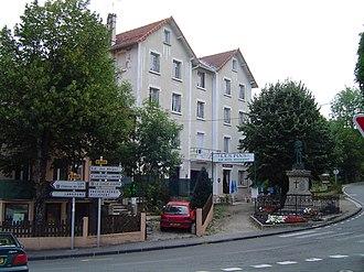 La Bastide-Puylaurent - The war memorial outside the Les Pins Hotel, in La Bastide-Puylaurent