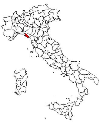 Tino (island) - Location of the province of La Spezia
