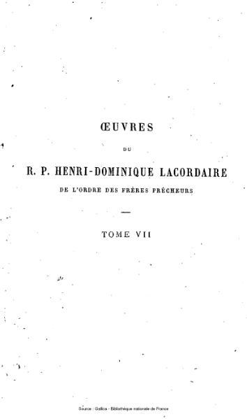 File:Lacordaire - Œuvres du R.P. Henri-Dominique Lacordaire, tome 7 - Œuvres philosophiques et politiques.djvu