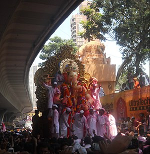 Ganesh Chaturthi - The Lalbaugcha Raja (the most renowned version of Ganesha in Mumbai) in procession.