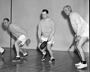 William P. Lambertson - William P. Lambertson (right) during a joint unit in a sports gymnasium of the Capitol complex with members James M. Mead (left) from New York and Elmer Ryan from Minnesota.