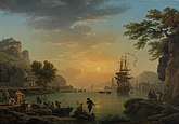 A Landscape at Sunset with Fishermen returning with their Catch (Calme) (1773), National Gallery, London