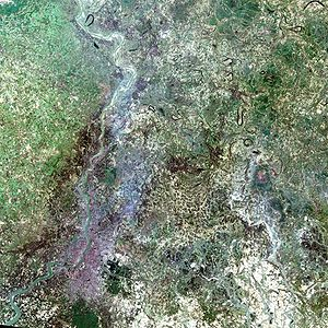 Landsat program - A simulated-color satellite image of Kolkata taken on NASA's Landsat 7 satellite.
