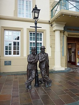 Laurel and Hardy outside the Coronation Hall, Ulverston - geograph.org.uk - 1731554