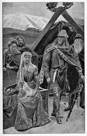 "Laxdæla saga - Kjartan sees Hrefna with the headdress and decides he might as well own ""both together, the bonnet and the bonnie lass""."
