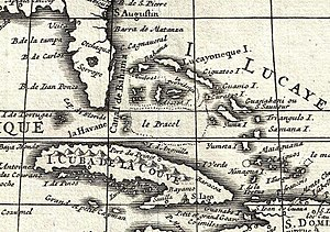 "Placer (geography) - ""Le Pracel"" north of Cuba in a 1708 De L'Isle map"