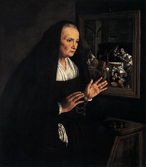 Leandro Bassano - Portrait of a Widow at her D...