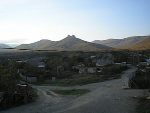 Lisne, Crimea - View of Lisne with the Crimean Mountains in the background.