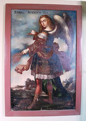 "Acolman - ""Angel de la Letania"" by unknown author from the 17th century at the Viceregal Museum"
