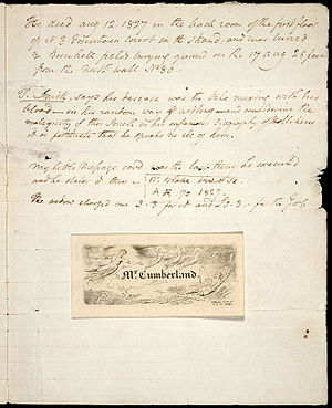 George Cumberland - Note by Cumberland recording Blake's death in August 1827. His visiting card made by Blake is attached.
