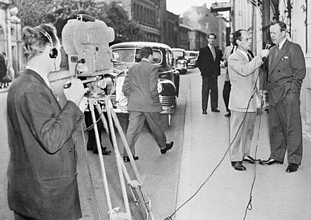 Levesque interviews Lester B. Pearson in Moscow for Radio-Canada in 1955 LevesqueinterviewsPearsoninMoscow.jpg