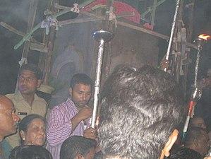 Telangana Martyrs Memorial - Image: Lighting torch at Martyrs Memorial Gun Park 1