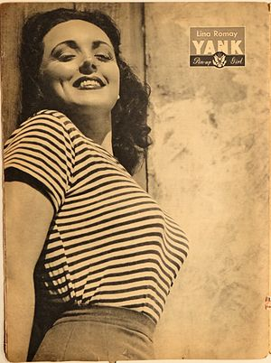 Lina Romay (singer) - Image: Lina Romay, pin up from Yank, The Army Weekly, May 18, 1945
