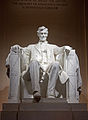 Lincoln Memorial statue at night 2011.jpg