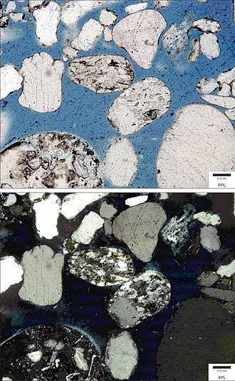 Lithic sandstone - Photomicrograph of a lithic arenite (sandstone) from the Wolfville Formation (Jurassic). Top image is in plane polarized light (PPL); bottom image is in cross polarized light (XPL). Blue epoxy fills pore spaces.