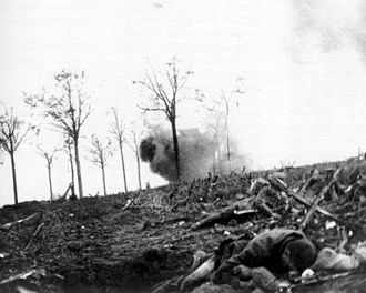 Liverpool Scottish - The Liverpool Scottish, 16 June 1915. A shell explodes in Railway Wood, to the left of the German front line.