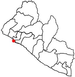 Monrovias beliggenhed i Liberia.