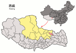 Location of Sog County (red) within Nagqu City (yellow) and the Tibet Autonomous Region